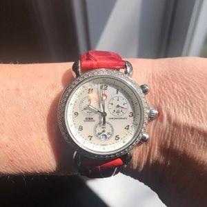 Michele CSX watch with diamond bezel